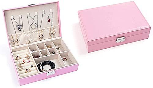 Recet Joyero para mujer de piel sintética, para guardar joyas, pequeño joyero joyero joyero para anillos, pendientes, collar