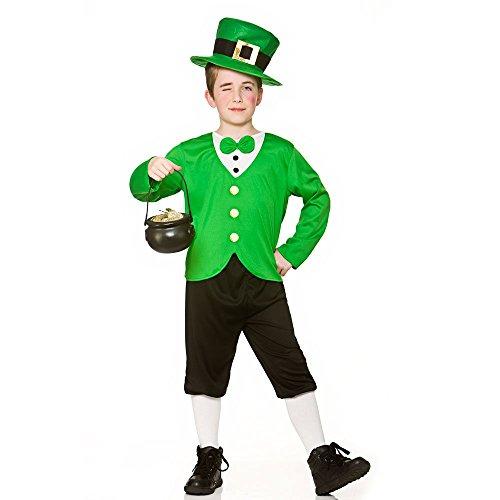 Disfraz irlandés divertido del traje del leprechaun de los muchachos de los cabritos (8-10 años) (134-146-158cm