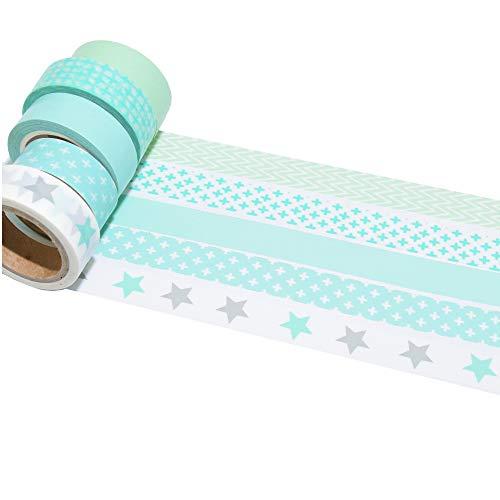 K-LIMIT 5er Set Washi Tape Dekoband Masking Tape 5 Rollen a 15mm x 10 m 9811