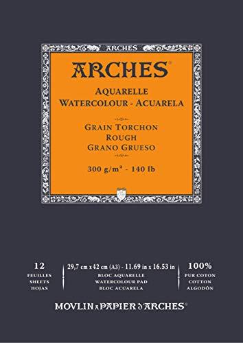 Arches Aquarelle 100% Grueso 300g Bloc Encolado A3 12 hojas Blanco Natural