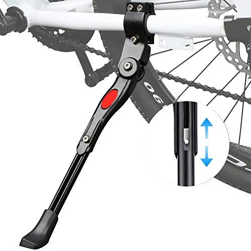 WENTS Bike Side Kickstand Bicycle Kickstand Adjustable Bike Kickstand Aluminium Alloy Side Stand with Anti-Slip Rubber Feet for 22-27 inch Mountain Bike Road Bike (Black)