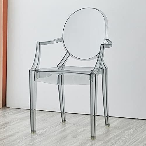 Moderno sillón de acrílico cocina y comedor creativo de moda apilable interior al aire libre silla (color: gris)