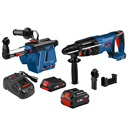 BOSCH GBH18V-26DK26GDE 18V EC Brushless SDS-Plus Bulldog 1 in. Rotary Hammer Kit with Mobile Dust Extractor and (2) CORE18V Batteries