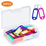 Cuttte 50 Pack Plastic Key Tags with Container, Key Labels with Ring and Label Window, 10 Colors