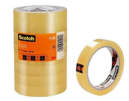 Scotch Cinta Adhesiva Transparente - 8 rollos - 19mm x 66m - Cinta Adhesiva para Uso General para el Colegio, el Hogar y la Oficina