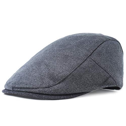ArtiDeco Barett Cap Herren Schiebermütze Gatsby Schirmmütze Newsboy Flat Cap Baskenmütze 1920 Stil Gatsby Kostüm Accessoires (Dunkelgrau, Large)