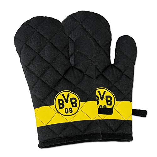 Borussia Dortmund Ofenhandschuhe 2er Set, Topflappen, Grill Handschuhe BVB 09 (L)