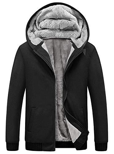 GEEK LIGHTING Men's Winter Heavyweight Fleece Hoodie Jackets Sherpa Lined with Full Zip