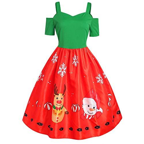 VEMOW Herbst Mode Elegant Damen Abendkleid Frauen V-Ausschnitt Bänder Frohe Weihnachten Weihnachtsmann Print Party Dating Midi Kleid(Y2-Rot, 36 DE/L CN)