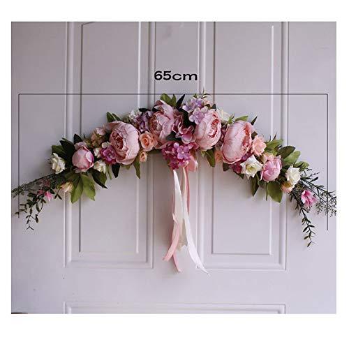 Guirnalda de Primavera con peonía y ratán De Flores Artificiales para Pared, decoración del hogar,Decorativa de Puerta Rosa Rosa One Size