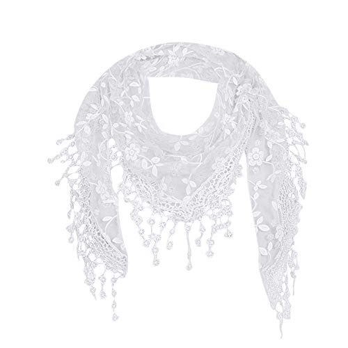 Blackobe Fashion Lace Tassel Sheer Floral Print Triangle Mantilla Scarf Shawl, White, 140mX40cm/55.1'X15.7'