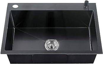 FSFF Zwarte Nano Handgemaakte Spoelbak Huishoudelijke Aanrecht 304 RVS Spoelbak Verdikte Enkele Wastafel 55 * 45cm,58 * 43...