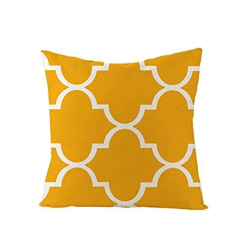 PPMP Funda de cojín de Onda de Diamante Amarillo Lino geométrico sofá Funda de Almohada Dormitorio decoración del hogar Funda de cojín Funda de Almohada A4 45x45 cm 2pcs