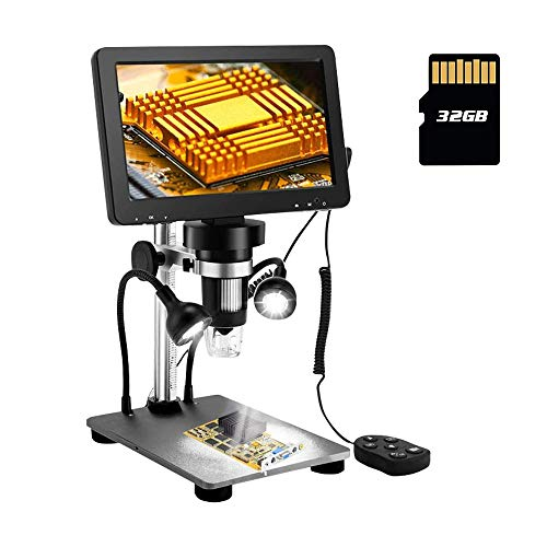 7 Inch LCD Digital Microscope 1080FHD Screen with 32G TF Card, Circuit Board Repair Soldering PCB Coins,12mp Camera Microscope,1-1200X Magnification,Compatible with iPhone Android, iPad MAC Windows