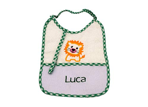 my STITCHERY® Baby Kleinkind Überzieh-Lätzchen bestickt mit Namen und/oder Motiv und Schnuller-Kette ab 3 Monate, Unisex Farbe grün, 100% Baumwolle Frottee, mit Wunschname, 25cm x 18cm