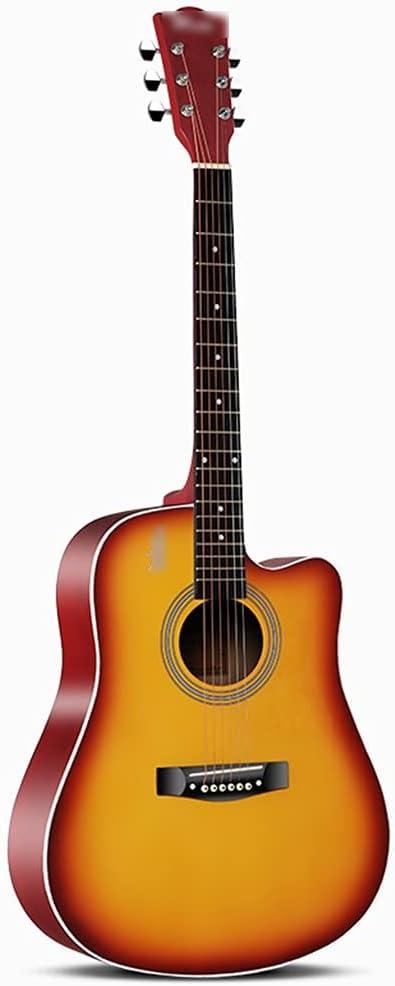 YYFANG Guitarra Acústica, Guitarra acustica Diapasón de Palisandro Pintura Mate Tipo de Barril Abeto Paso de Cuerda Ajustable Afinación de Alta precisión (Color : Sunset, Size : 41inches)