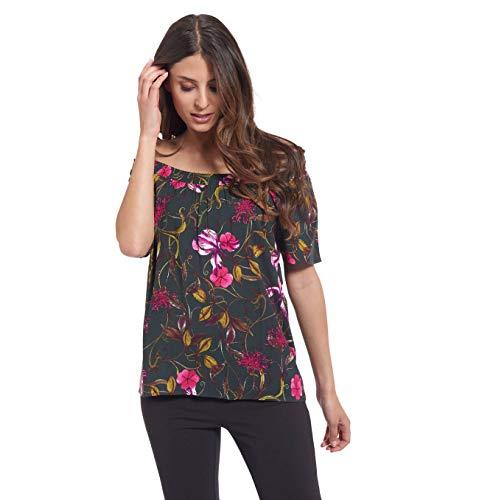 manguun Collection T-Shirt, Allover-Print, Carmen-Ausschnitt Grün 38