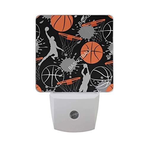 LINGF Nachtlicht Basketball Sportmuster, Auto Sensor LED Nachtlicht Lampe Down to Dusk Plug-in Glühbirne für Kinder Jungen Mädchen Erwachsene Zimmer Flur, 2er Pack