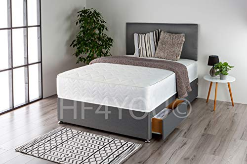 Home Furnishings UK Linos Divan Bed Set with a Memory Sprung Mattress and Matching Headboard (2 Drawers) (3FT Single, Grey)