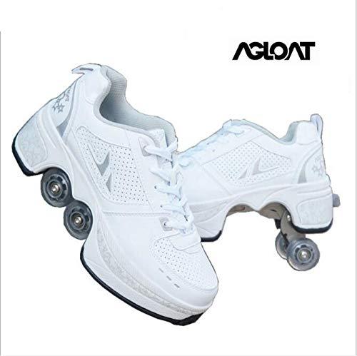 Zapatillas Deporte Hombres Mujer Running Sneakers Hombre Casual Deportivas Multifuncional Transpirables,White-42