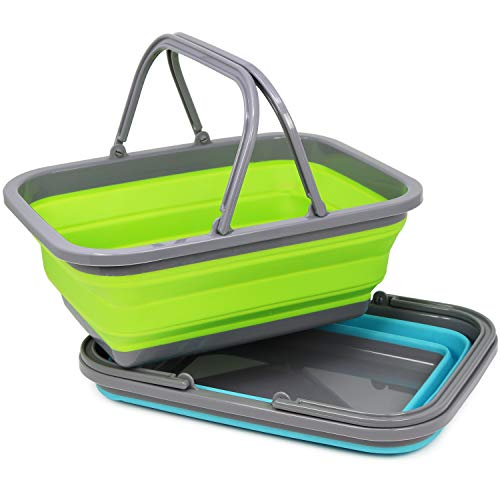 com-four® 2X Einkaufskorb aus Silikon, Faltbarer Camping-Korb [Farbe variiert] (02 Stück - Einkaufskorb)