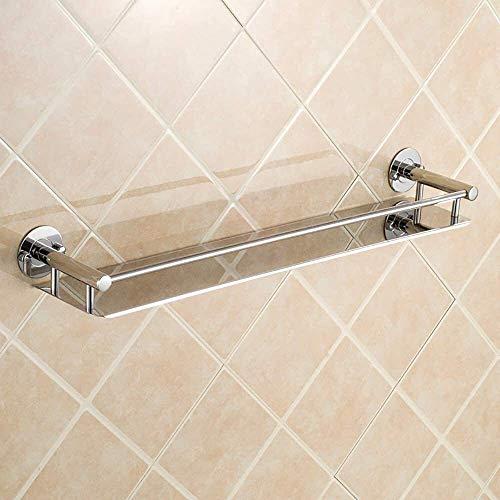 LQH Estante de baño Estantería de Toalla de Oro Estantes de baño Doble Talleres Testamentos de Ducha de Vidrio (Tamaño: 60 * 12 * 5 cm) (Size : 50 * 12 * 5CM)