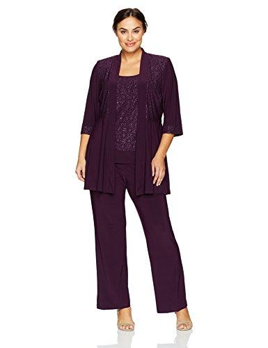 R&M Richards Women's Plus Size Two Piece Glitter and Lace Pant Set Large, Plum, 14W