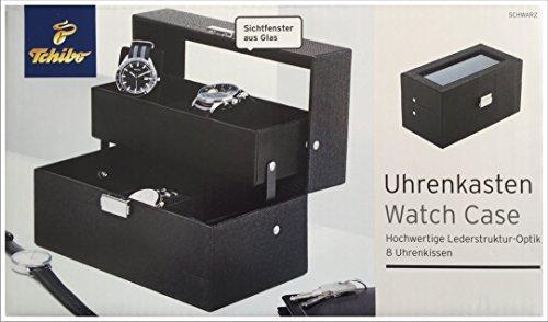 Tchibo TCM Uhrenkasten Uhrenbox Schmuckkasten in hochwertiger Lederoptik schwarz