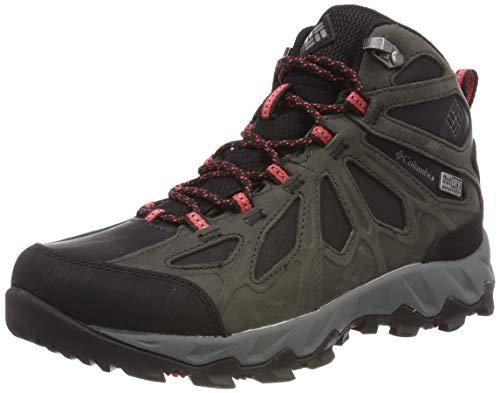Columbia LINCOLN PASS MID LTR OutDry, Scarponcini da hiking, Donna, Nero/Rosso (Black, Red Camellia), 41.5 EU