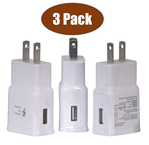 3 Pack of Fast Charging USB Wall Adapters, Fast Charging Block, Travel Charger, US Power Adapter, Charging Block for use with Samsung Galaxy, iPhone Chargers Apple iPhone Charger iPod Charger (White)