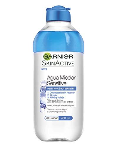 Garnier Skin Active - Agua Micelar Sensitive para Pieles y Ojos Muy Sensibles, 6 Recipientes de 400 ml, Total: 2400 ml
