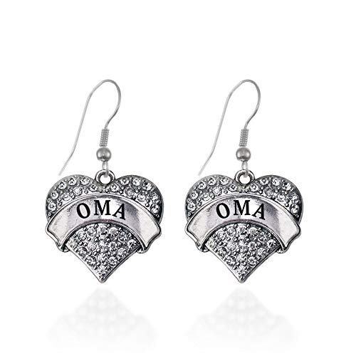 Inspired Silver - Oma Charm Earrings for Women - Silver Pave Heart Charm French Hook Drop Earrings with Cubic Zirconia Jewelry