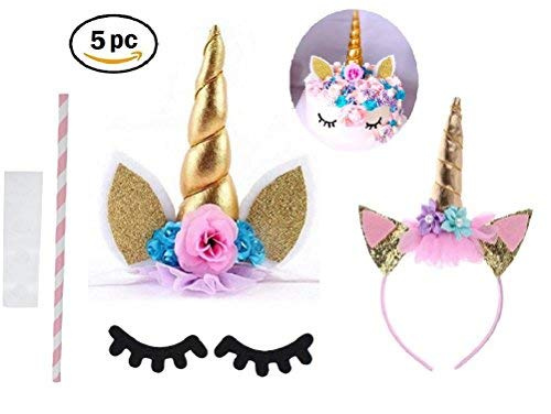 Prime Arts USA | 3D Unicorn Cake Topper with Eyelashes and Headband | DIY Unicorn Party Supplies Cake Decoration Kit for Birthday, Baby Shower, Wedding, Etc.