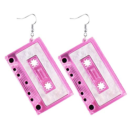 1980s Fashion Acrylic Magnetic Tape Earrings for 80's Party Women Girls Punk Retro Cassette Crush Colorful Drop Dangle Party Night Club Pretty Jewelry Silver (Pink)
