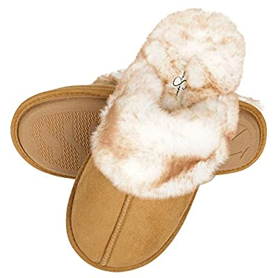 Jessica Simpson Women's Comfy Faux Fur House Slipper Scuff Memory Foam Slip on Anti-skid Sole, Tan, Large