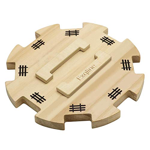 Wooden Hub for Mexican Train Dominoes with Felted Bottom - Exqline Mexican Train Centerpiece Made of Superior Pine