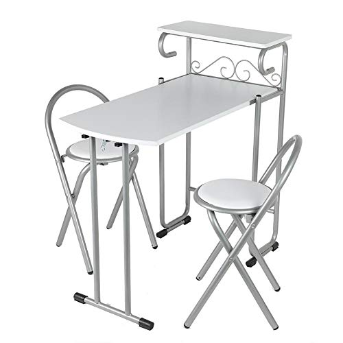 Wakects - Tavolo da pranzo pieghevole e sedia, con ripiano e 2 sedie, facile da riporre e da spostare, adatto per bar di cucina, tavolo da pranzo, tavolino da pranzo