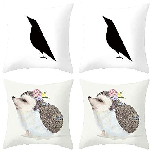 Agoble Adornos Habitacion Juvenil, Funda Cojin Sofa Poliéster 4 50X50cm Funda Cojin Blanco Negro Pájaro y Erizo