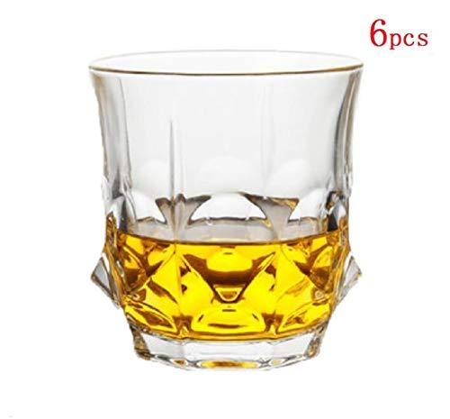 YYCDD Wijnglazen set - 6-delige set, Loodvrije kristallen glazen kop, Whiskey cup Huishoudelijke wijnglas Biermok (300ml)