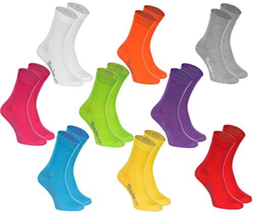 Rainbow Socks - Hombre Mujer Calcetines Colores de Algodón - 9 Pares - Blanco Púrpura Gris Naranja Rojo Amarillo Verde Mar Verde Fucsia - Talla