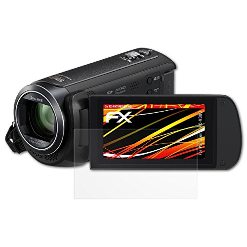 atFoliX Schutzfolie kompatibel mit Panasonic HC-V380 Bildschirmschutzfolie, HD-Entspiegelung FX Folie (3X)