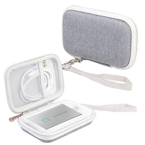 Khanka Hart Tasche Case für Samsung T7 Touch/ T7 Portable SSD 500GB 1TB 2TB. (Für 1 SSD, Grau)