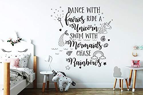 rainbows  Wall Vinyl Decal Sticker mermaids Dance with fairies ride a unicorn