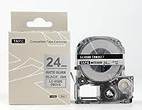 キングジム テプラPro用 互換 テープカートリッジ SM24XW(SM24Xの強粘着) 24mm マット銀地黒文字