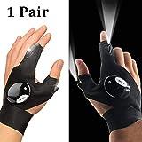 ENTHUR Outdoor Angeln Handschuhe, 2 LED Taschenlampe Handschuhe Fingerlose Nachtbeleuchtung...