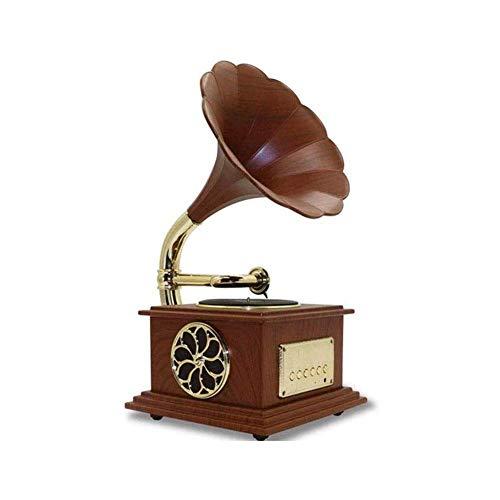 ZSMLB Hi-Fi Home Audio Phonograph Bluetooth 4.2 Giradischi Musica Altoparlante Stereo dinamico, Mini Cavo Audio in Stile retrò in Metallo Home Office Club Bar Decor Ornamenti