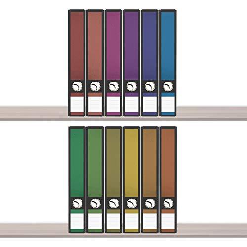 sendmoments Aufkleber für Ordner, Klebeetiketten, Regenbogenfarben, 12 Aufkleber für Ordnerrücken, selbstklebende Ordnerrückenetiketten für schmale Ordner mit zusätzlich 18 Beschriftungs-Aufklebern
