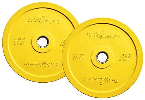 Bad Company Olympia Hantelscheiben mit Farb-Code 50/51 mm I 2 x 15 kg
