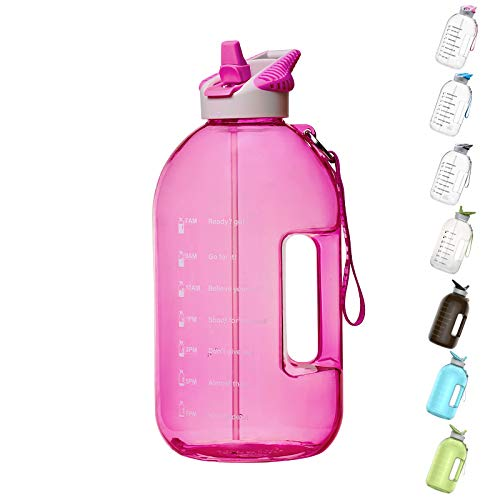 BOTTLED JOY 1 Gallon Water Bottle with Straw Lid, BPA Free Large Water Bottle with Motivational Time Marker Reminder Leak-Proof...