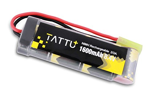 TATTU 8.4V 1600mAh NiMH Flat Battery Pack with Mini Tamiya Female Connector Assembled with 16G Wire